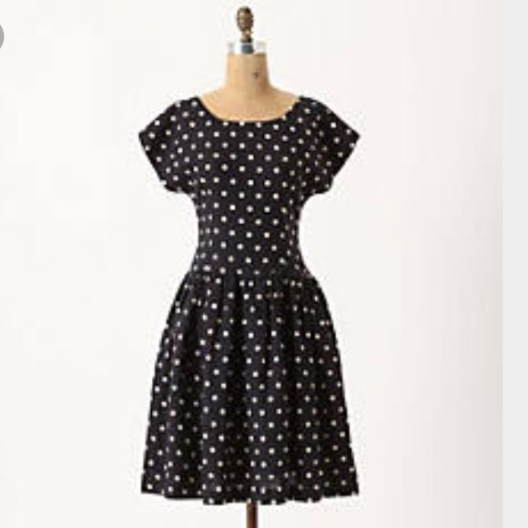 Anthropologie Dropped Dots Dress Gently loved dress with pockets and built in slip. It has such a cute shape and can easily be dressed up or down. Anthropologie Dresses