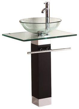 Complete Bathroom Vanity Set With Dark Brown Cabinet Blue Glass