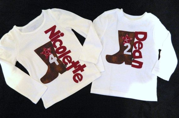 Western cowgirl or cowboy shirt cute applique for onesie baby