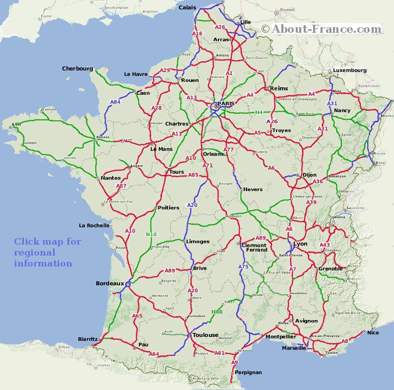 Detailed Road Map Of France.French Motorway Map Summer Plans In 2019 France Map France City