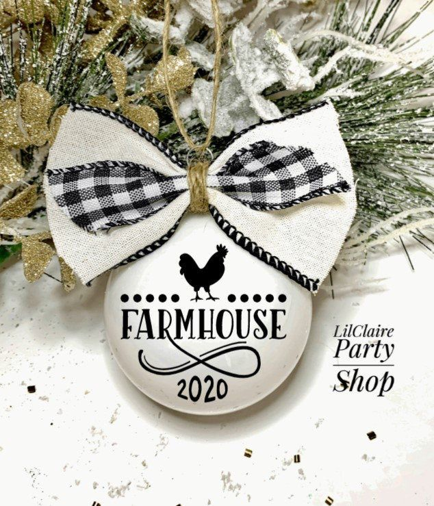 Excited to share this item from my #etsy shop: Farmhouse Christmas ornament #white #christmas #black #farmornament #henornament #rusticchristmas #farmhousestyle #holidaygift #christmasgift