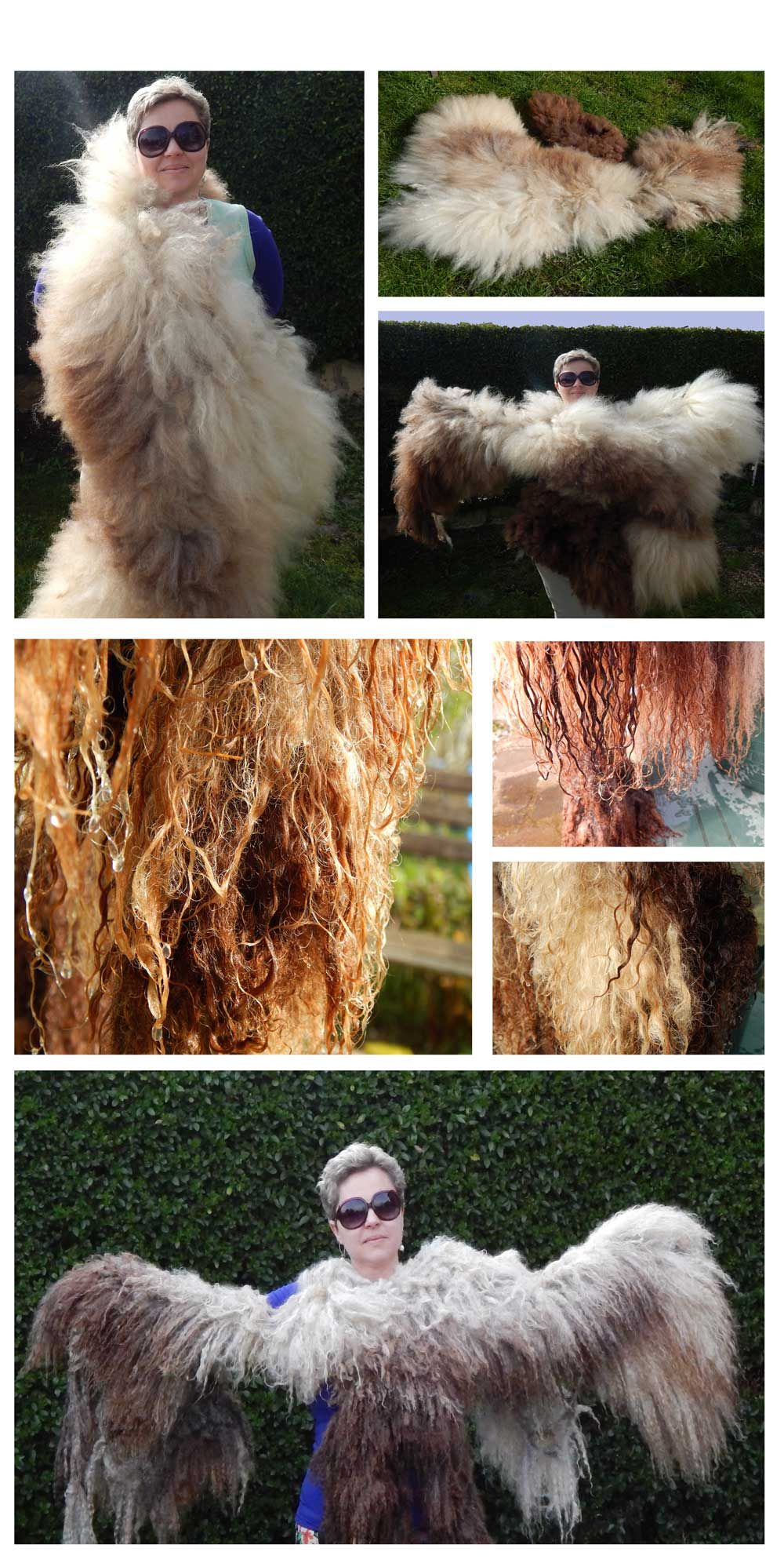 Sunny sunday project. Brushed Leicester longwool fleece with hand carder then wet it thoroughly and dryed