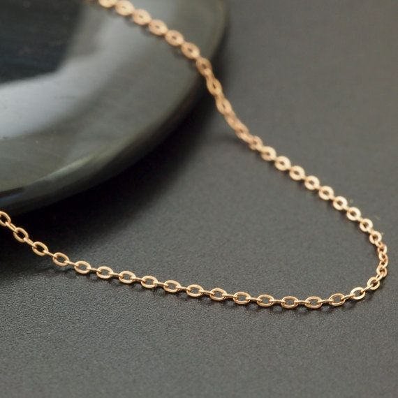 1mm 14kt Rose Gold Filled Flat Cable Chain Fine Flat Cable Etsy Rose Gold Filled Special Necklace Gold