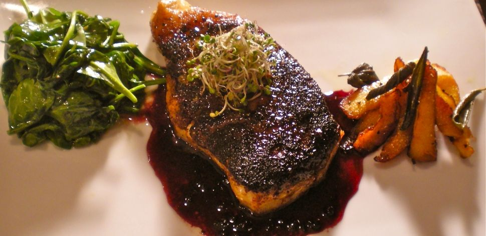 CANCER FIGHTING RECIPE! Blackened Chilean Sea Bass w/ Sage Roasted Pumpkin, Wilted Garlic Spinach & Black Berry Reduction