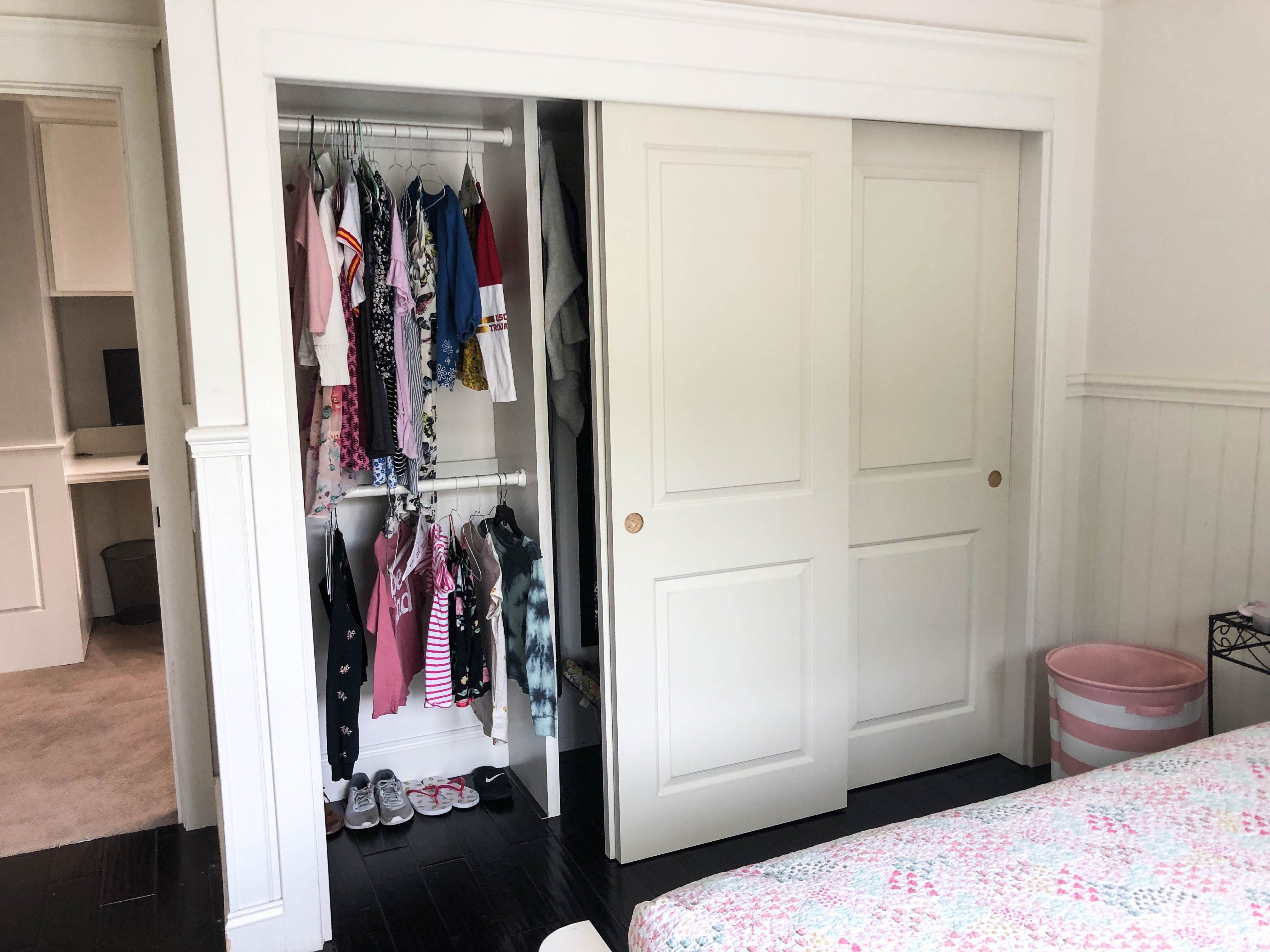 Would You Look At These 3 Track 3 Panel Molded Closet Doors With Cambridge Designs We Love How They Turned Out Closet Doors Perfect Closet Panel Moulding