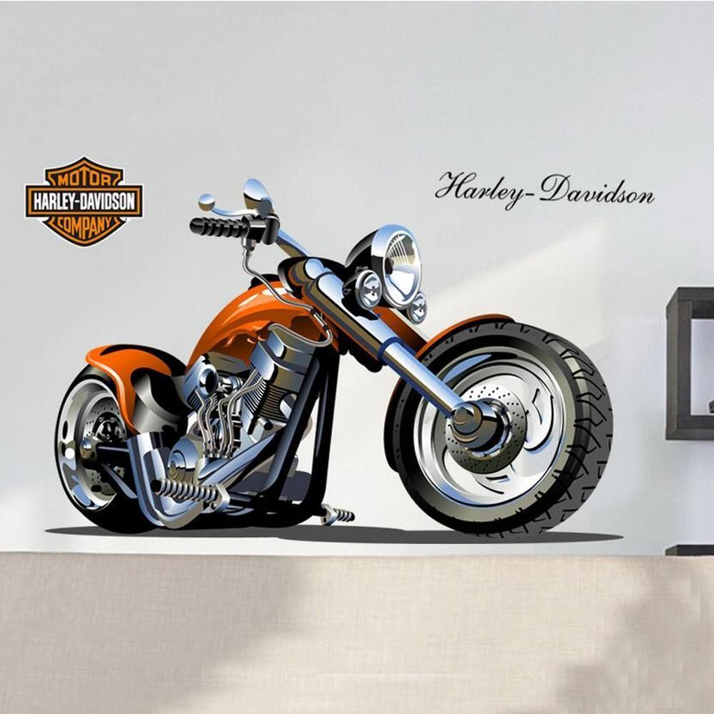 Home decor 3d harley motorcycle wall stickers removable decal