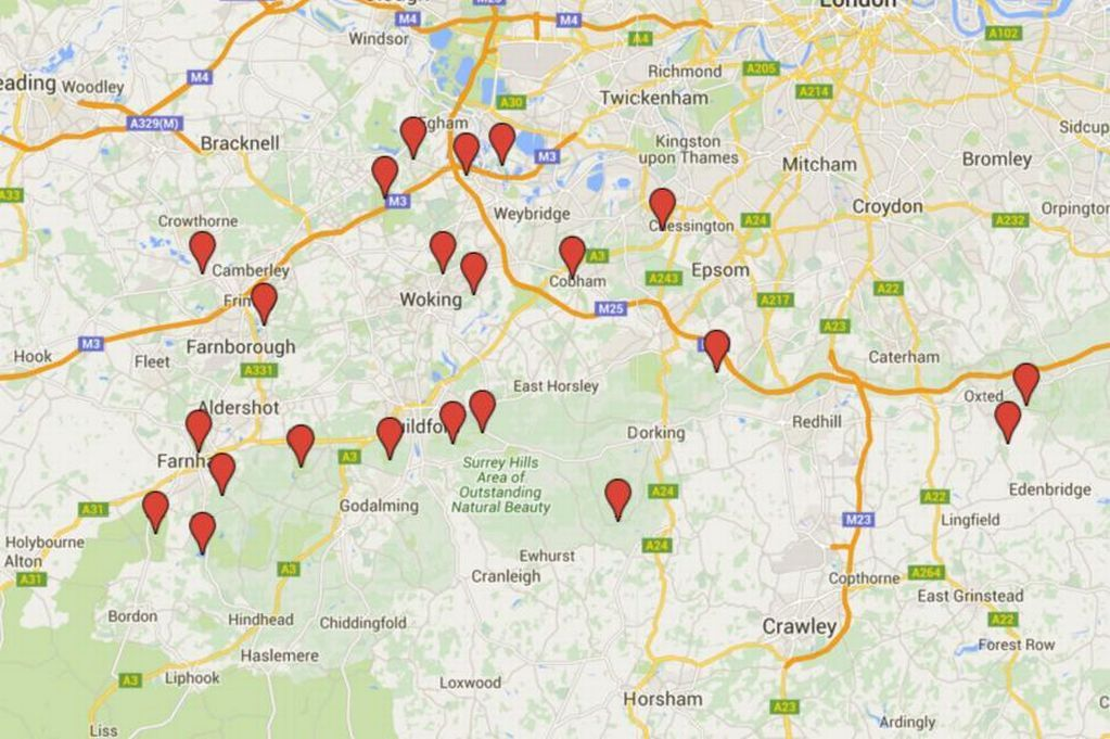 Dog walks in Surrey and Hampshire map