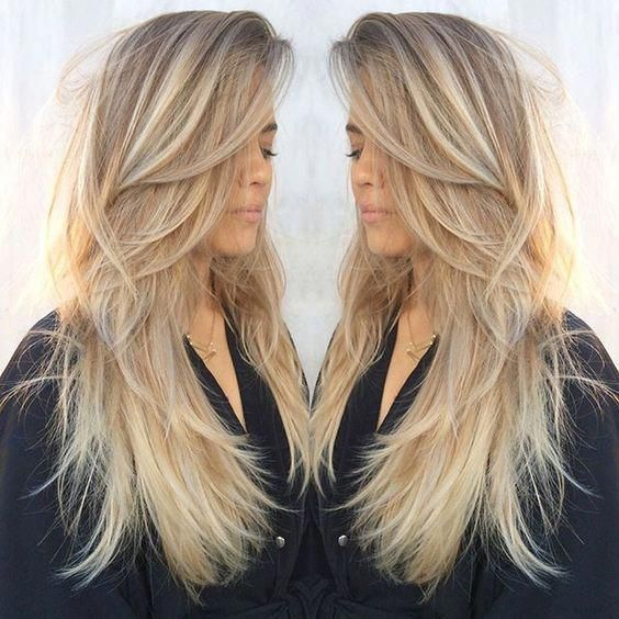 Blonde Ombre Hair Color Summer Long Straight Hair With Dynamic Ash Blonde Coloring And Tons Of Layers Longha Hair Styles Long Layered Hair Long Straight Hair
