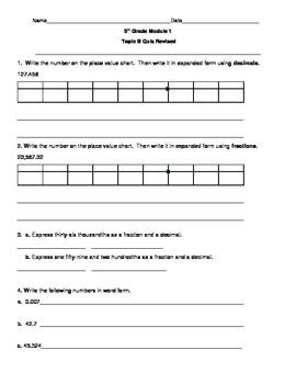 5th Grade EngageNY/Eureka Math Module 1 Topic B Quiz ...