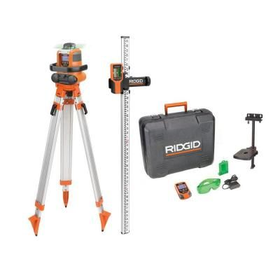 Ridgid Green Auto Leveling Rotary Laser Level Kit Grl9202 At The Home Depot Laser Levels Rotary Ridgid Tools