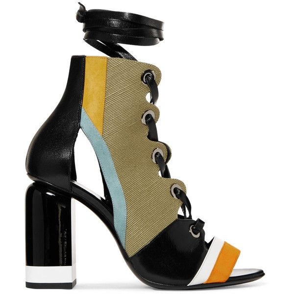Pierre Hardy Alchimia paneled leather, suede and canvas sandals (44,305 DOP) ❤ liked on Polyvore featuring shoes, sandals, heels, laced sandals, canvas shoes, leather lace up sandals, leather shoes and leather heeled sandals