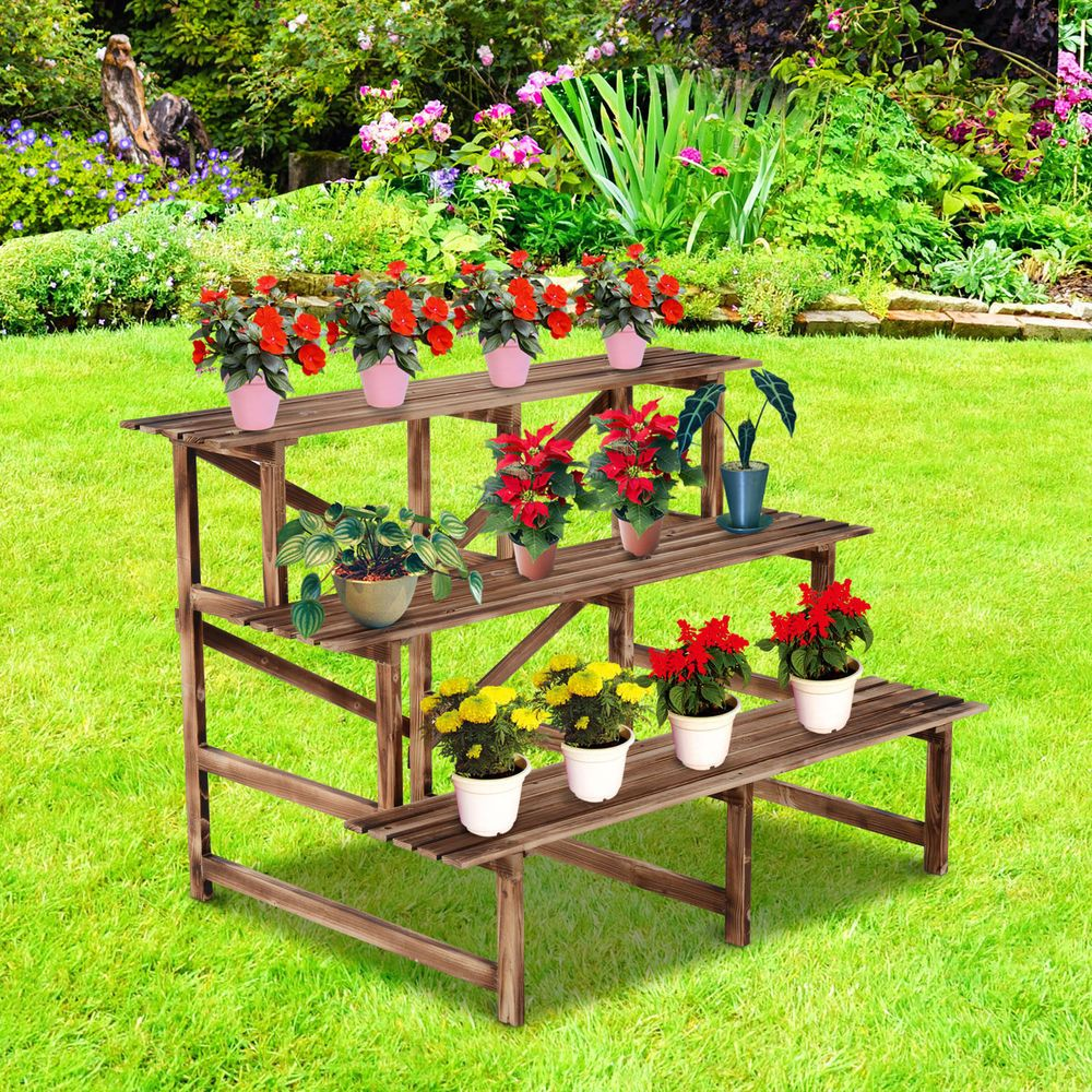 "Best Outsunny 47"" Wooden 3 Tier Step Style Plant Stand Outdoor 400 x 300"