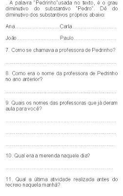 Lingua Portuguesa Texto O Primeiro Dia De Aula Com Atividades