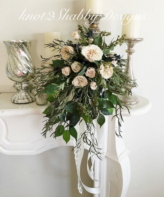 BUY IT HERE AT : http://www.knot2shabbydesigns.co/  Bohemian  preserved roses  cascading  bridal by Knot2ShabbyDesigns