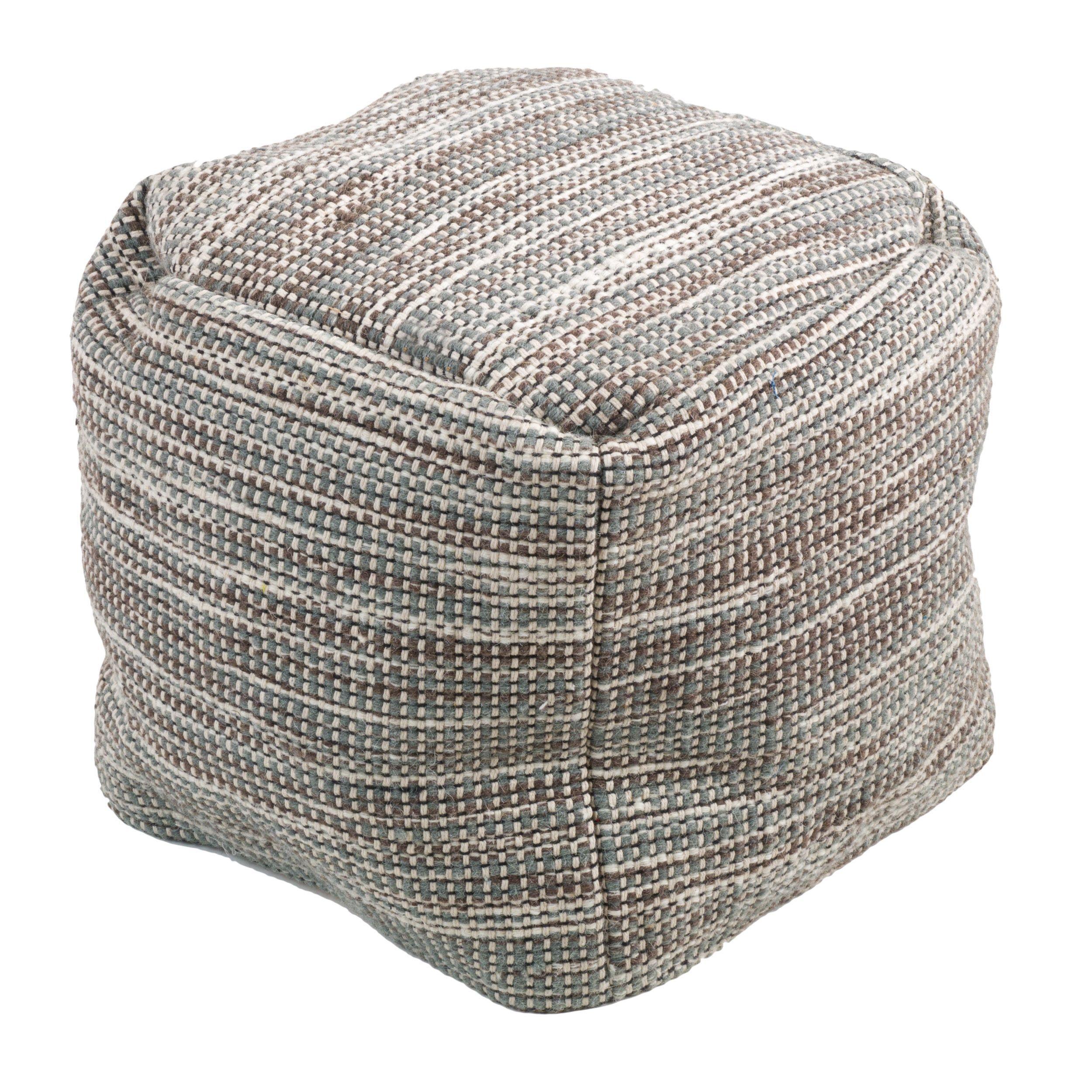 Christopher Knight Home Edon Wool Embroidery Pouf Ottoman (Grey), Size Small