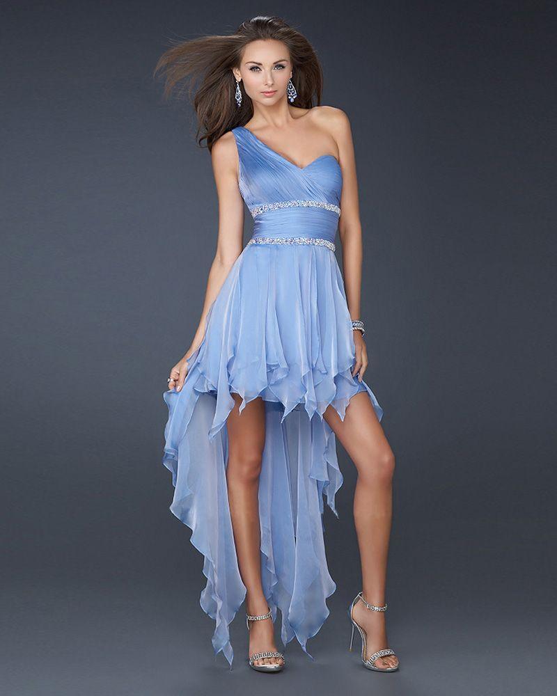 one shoulder high low cocktail dress