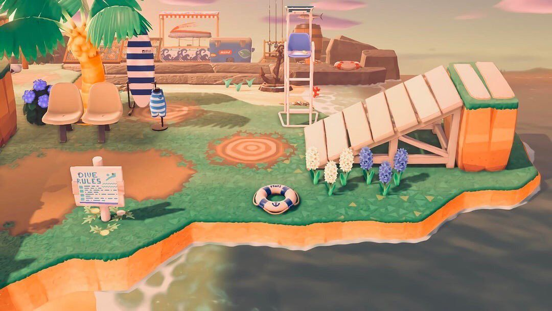 Animal Crossing Inspiration On Instagram Diving Area With Ramp Patterns Diving Sign Ma New Animal Crossing Animal Crossing Game Animal Crossing