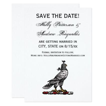 Heraldic Hunting Falcon Wearing Helmet Hood C Card Weddings and - formal invitation style