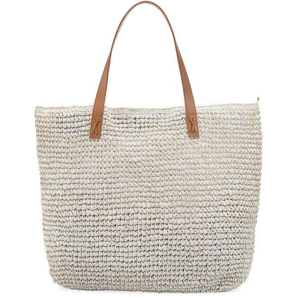Seafolly Carried Away Beach Tote Bag ($92) ❤ liked on Polyvore featuring bags, handbags, tote bags, white, beach bag, white beach bag, seafolly, north south tote and beach tote bags