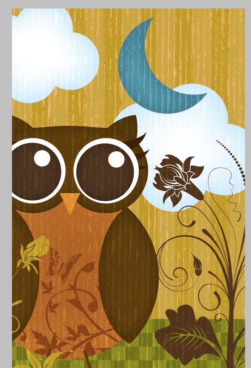 Blue Moon Whimsy Owl