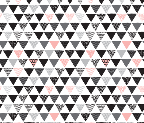 Geometric aztec triangle pink modern patterns fabric by littlesmilemakers on Spoonflower - custom fabric