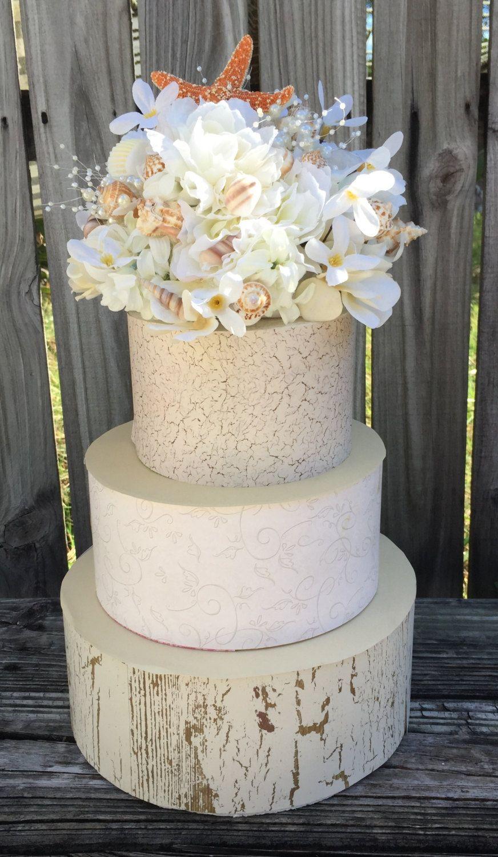 Beach wedding cake topper sea shell cake topper beach