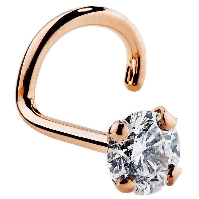 Cubic Zirconia 14k Gold Nose Ring 14k Rose Gold Twist Ftcp Etsy Diamond Nose Stud Diamond Nose Ring Rose Gold Nose Ring