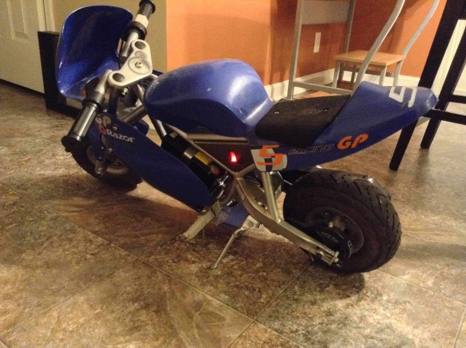 Razor Pocket Rocket 24v Mini Bike Electric Motorcycle Blue 15120040 Ebay Mini Bike Electric Motorcycle Bike