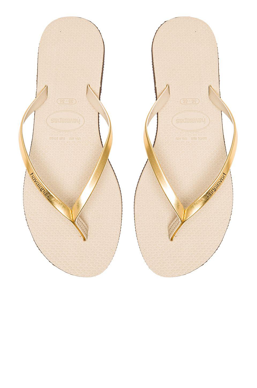 1d0b1e9817b39 Havaianas You Metallic Flip Flop in Sand Grey   Light Golden ...