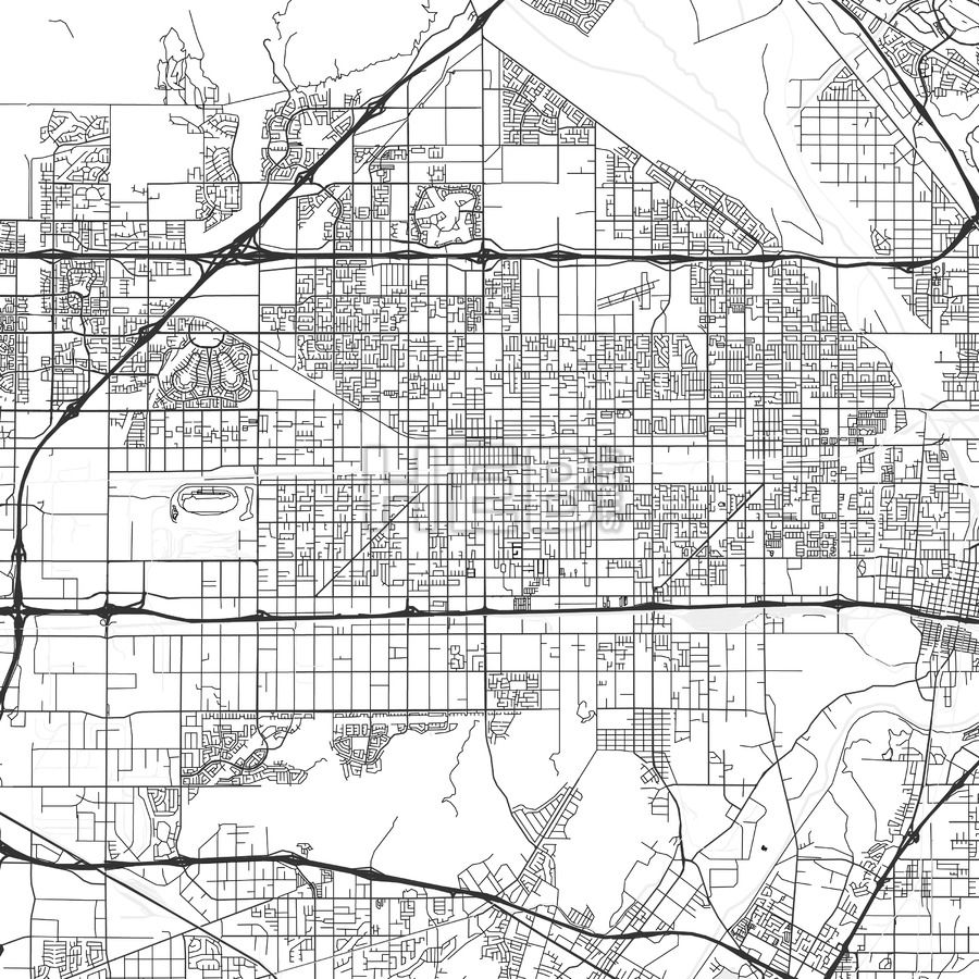 Fontana downtown and surroundings Map in light shaded version with