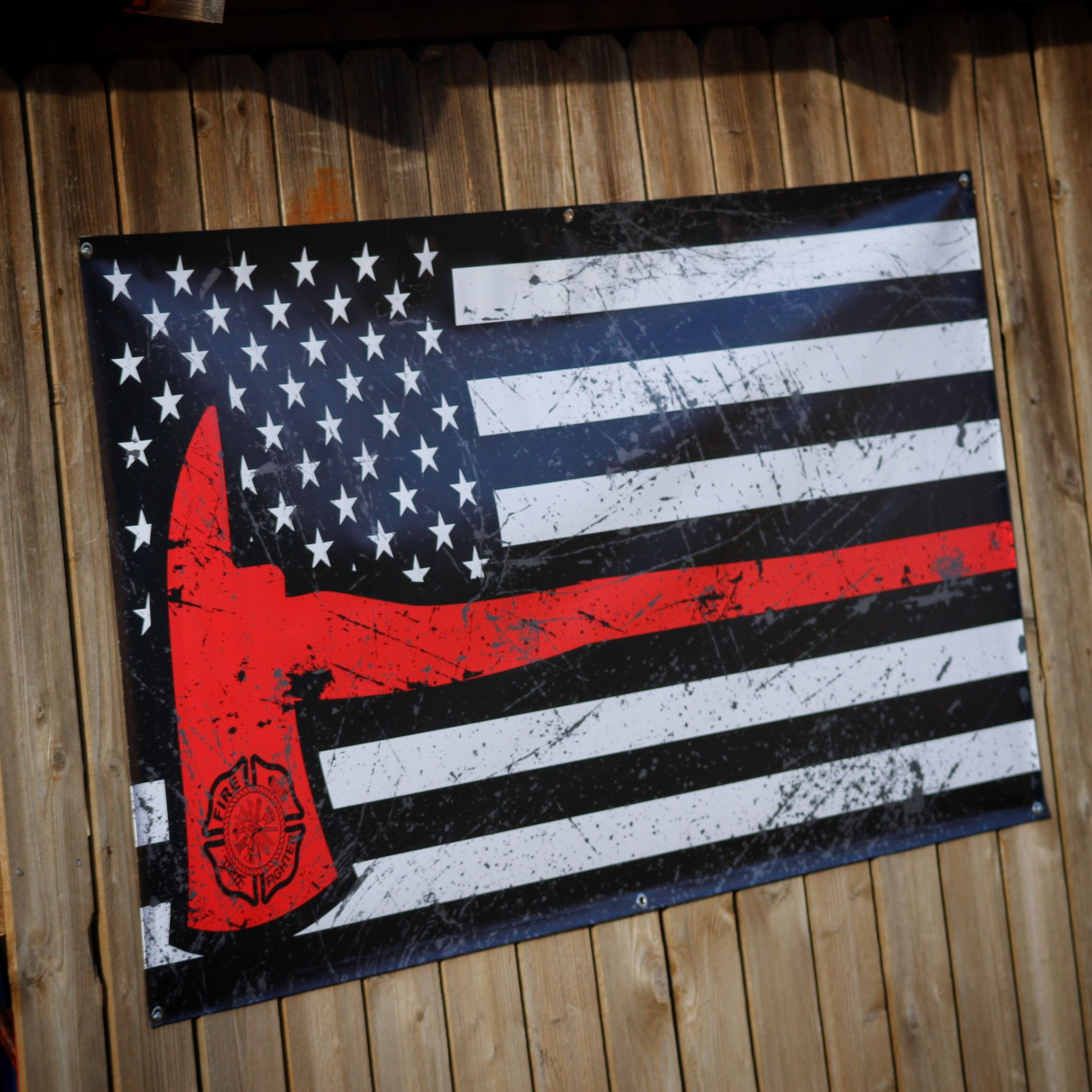 Thin Red Line Axe Flag Banner Www Lstarsigns Com Lonestarsigns
