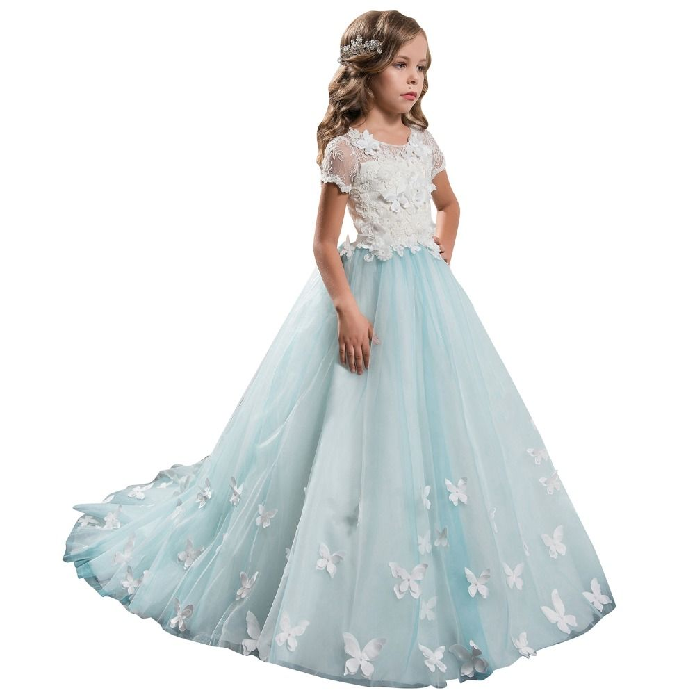 Lace Ball Gown Wedding Dress for Kids 2017 Short Sleeves Butterfly ...