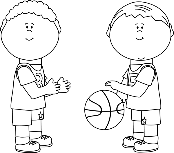 Black And White Boys Playing Basketball Clip Art Boys Playing Clipart Black And White