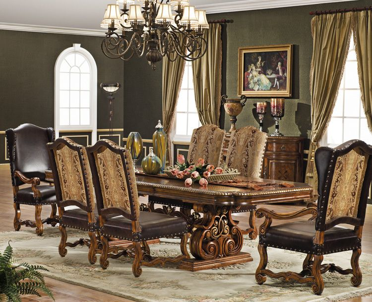 Formal Dining Set, Italian Leather And European Fabric With Solid Mahogany