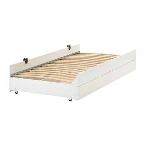 Slakt Pull Out Bed With Storage White Twin Pull Out Bed
