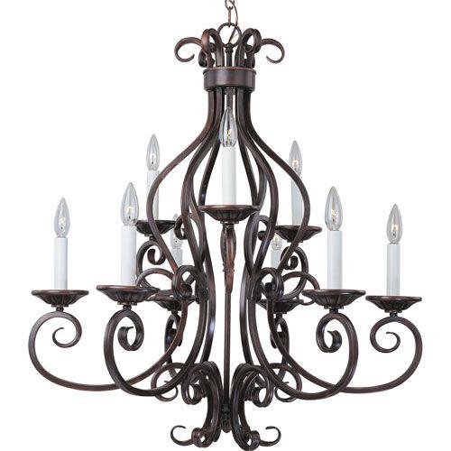 Maxim Lighting International Manor Oil Rubbed Bronze Nine Light Chandelier On