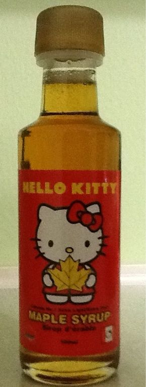 Hello Kitty Maple Syrup.  My daughter found this while vacationing in Canada.  Too cute.