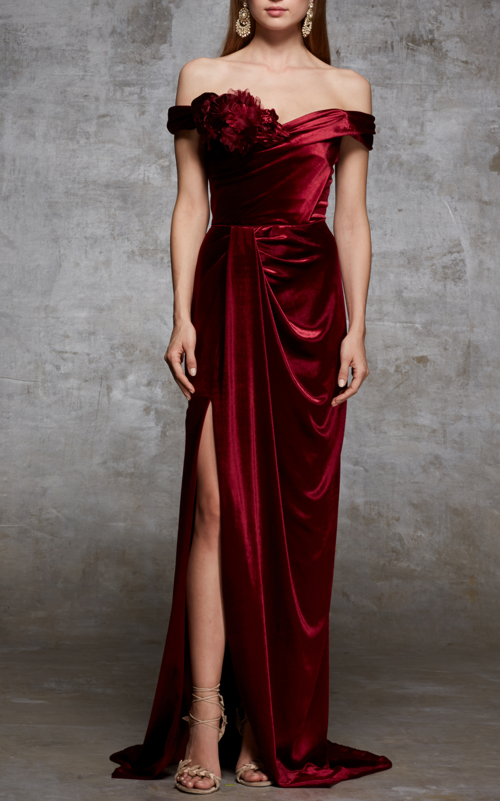 Off the shoulder velvet gown by marchesa playing dressup