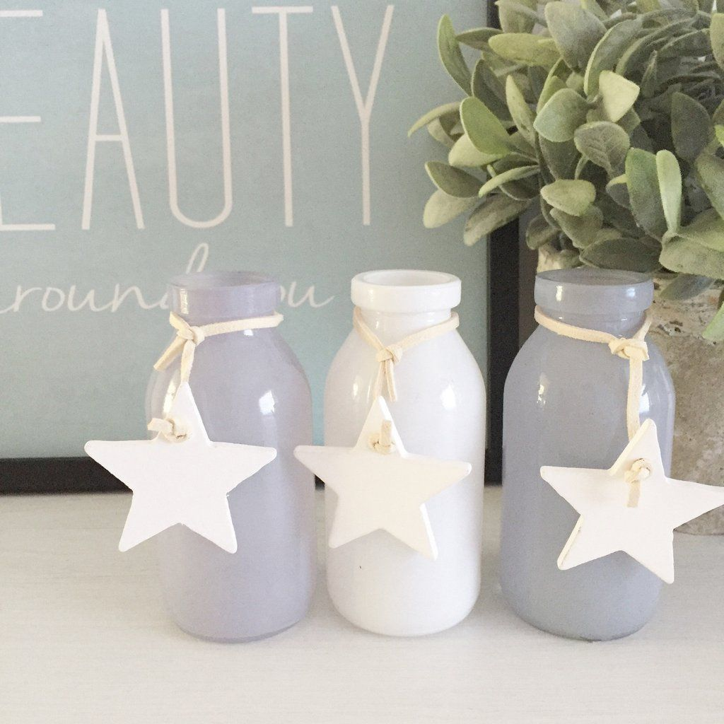 Mini Glass Bottle in white, grey and lilac with white wooden star ...