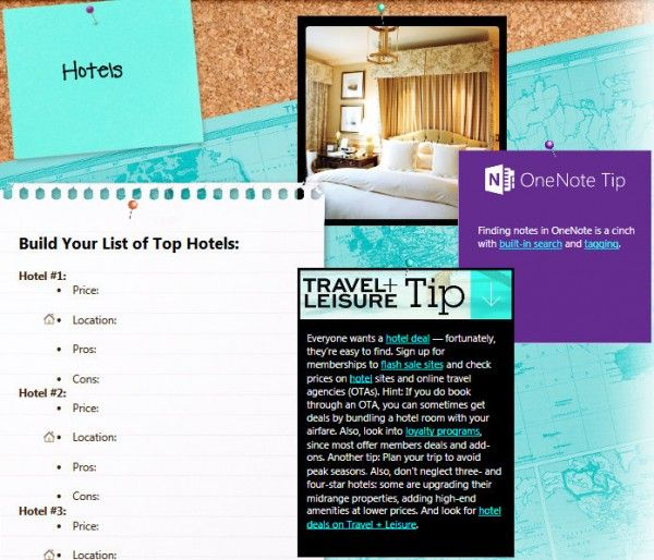 Use OneNote free downloadable Travel + Leisure Notebook to plan - trip itinerary template
