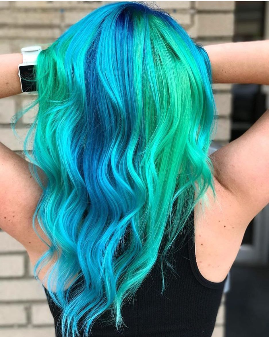 Pin By 𝚗𝐚𝘵 On Colorful Hair Green Hair Dye Hair Dyed Hair