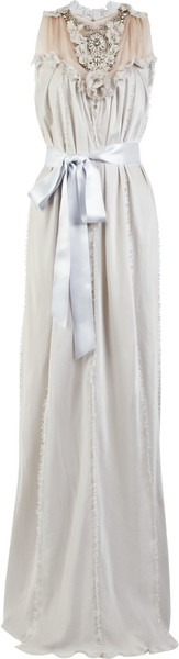 Lanvin Washed Silk-satin Jeweled Gown
