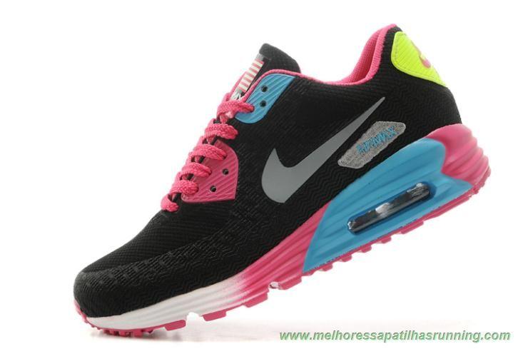 Mulheres Preto Rosa Prata Jade Nike Air Max 90 HYP PRM novo