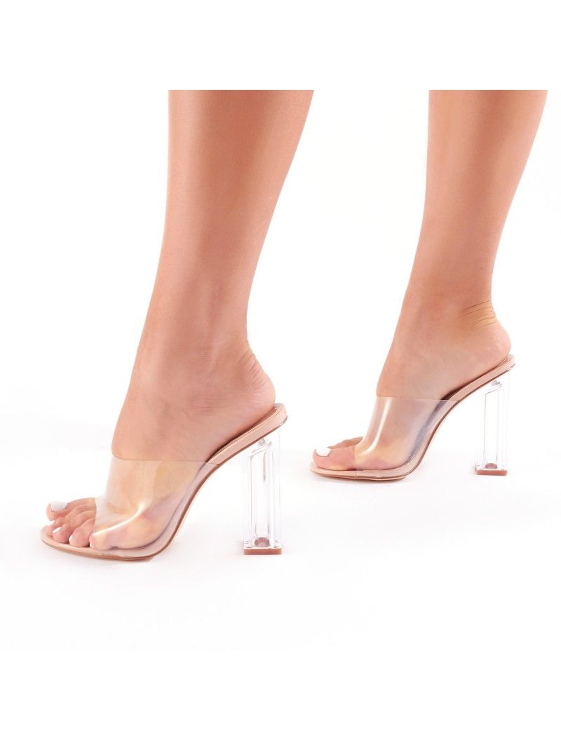 ce6366eb690a Fushion Clear Perspex Mules in Nude