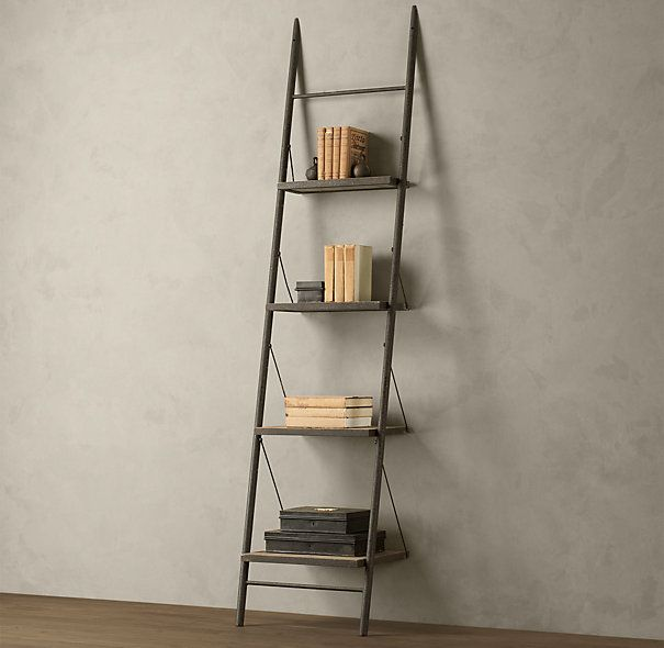 RH Reclaimed Elm Iron Leaner Shelving Narrow 395 X 2 Size 24W 18D 99H Or 83H