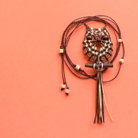 Brown and Beige Macrame Owl Necklace - Owl Pendant, Hippie ...