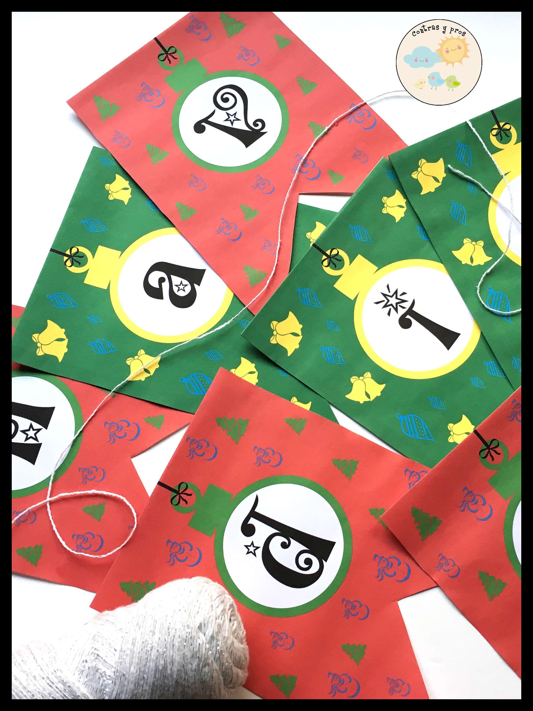 de los banderines de Navidad (imprimible gratis | Plantillas ...