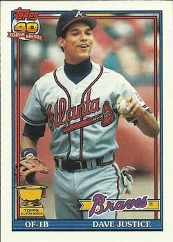 The Trading Card Database 1991 Topps 329 David Justice Atlanta Braves Braves Atlanta Braves Baseball