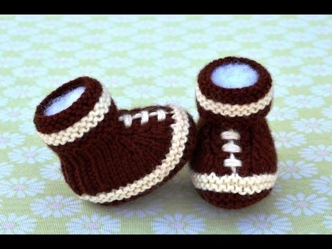How To Knit Football Baby Booties Part 1 Footwear Pinterest