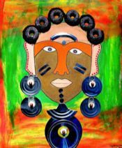 """Mixed media Uso (Swahili for Face) series paintings by Gathinja. """"Uso 20"""""""